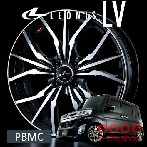 【ホイール1枚】レオニス LV 16×6.0 PCD100/4H +50 ボア径:φ67 カラー:パールブラック/ミラーカット(PBMC) [LEONIS LV] パールブラック/ミラーカット(PBMC)