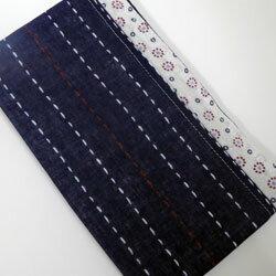 ウォーキングガーゼタオル UVケア 縦縞柄(裏変わり水玉) ネイビー系 21×120cm