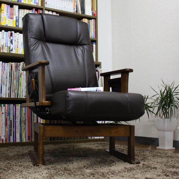 くるっと回る、リクライニングする高座椅子  手入れ簡単なPUレザー 座椅子父の日に高座椅子 老人の日に高座椅子 しっかりらくらく高座椅子(お年寄り お洒落 かわいい 座いす 座イス リクライニング 家具 インテリア) 2P03Sep16 座椅子 高座椅子 リクライニング回転 リビングチェア 肘掛け PUレザー パーソナルチェア リラックスチェア 木製 椅子 いす 居間 和室  0824楽天カード分割