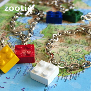To the adult mind! Metal colorful blocks with profound feeling of a real front and back! Pop and kitsch mantel chain bracelet ◆ Zootie ( ズーティー ): block bracelet