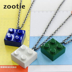 A product made in metal colorful block with the solid feeling for one point of the chest! The accessories of adult! Chain necklace ◆ Zootie (zoo tea) of the toy motif which is kitschy in a pop: Block pendant