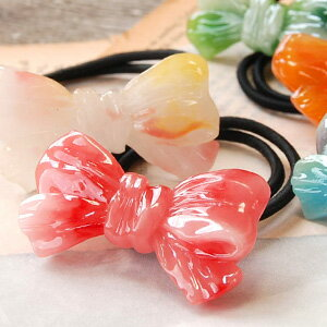 Such as the candy is fascinating, arrange hair cutely boom! The hair accessories ◆ ribbon candy pony that the motif linked to クシュッ was devised with a marble design