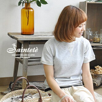 "High quality sweat suits only adult women! Like mélange of charms vintage-look texture size: Harmonic material ' 2 black kite back hair ""short sleeve shirt with ◆ Saintete ( サンテテ ): ハーフスリーブラグラン trainer"