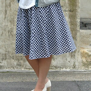 The cotton skirt well refreshing as for the gingham check skirt ♪ lining matching girly-style is 2WAY item ◆ gingham check shirring skirt to transform itself into a tunic