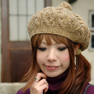 A beret beginner does not let you say! The knit beret which easily gets a rash with anyone cutely of the pretty Toko どりっ ♪ top of a beret and the knit cap is ◆ natural cable knit beret for ナチュ かわ accent plonk
