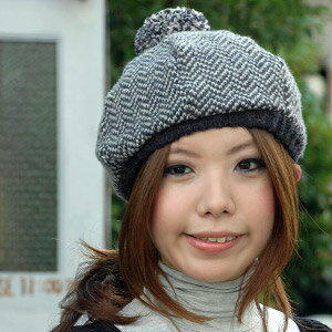 The knit beret which I get a rash more roughly than a beret, and is not too more casual than a knit hat is popular now! Notched copter Vaughn pattern and mixture Vaughn knit beret of 2 colors plonk re-to knit cap ◆ where が casual & is classical
