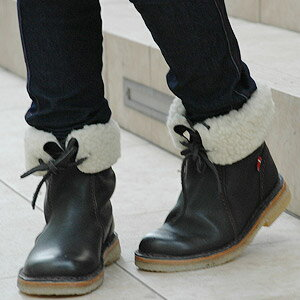 --K is a cute ベジタブルタンニングレザー boots! Duck feet with leather lace and stretch wrap material bore is 2-WAY wear more enjoyable DANSKE / Danske sneaker ◆ Duckfeet: レザーボア short boots
