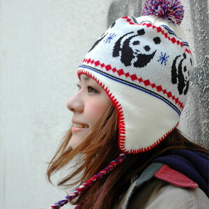 I carry out an eco-activity just to be fogged cutely! The trapper knit cap ◆ WWF jacquard panda bonbon knit cap that I am pretty, and the fringe that the knit hat that が is cute was performed debut ♪ ear cover and three knitting of plonk of a jacquard pa
