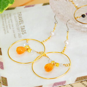 The hoop pierced earrings which hang from the center of Goldring where the natural stone such as the drop of the fruit to run down is delicate beads of ティアーズカット shiningly! A natural stone of cornelian and the Renny quartz is the accessories ◆ parallel ho
