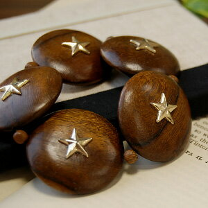 A bracelet exquisite to ころんとまぁるい Wood beads the combination of stars! Seem to match an ethnic-like style casually; can only arrive; bangle-like bracelet ◆ dicokick (D co-kick) of the presence size: Oval Wood star bracelet