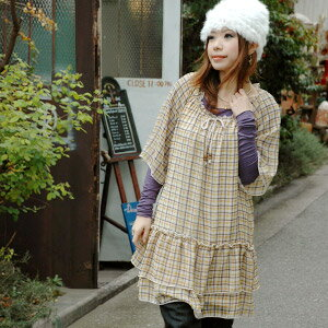 It seems to be a girl in the chiffon one piece of the tartan check softly! Item ◆ school check frill chiffon one piece to be able to use in the long shot season when I am still prettier, and the half-length sleeve bell sleeve-like dress that Wood beads a