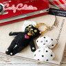 カーリーファミリー黒猫ロイくん水玉りぼんストラップ!ドットリボンにハートのスワロがポイントのネコ携帯ストラップ!ファブリカと当店限定販売クロネコキーホルダー◆Curly Collection(カーリーコレクション):Curly Family スワロフスキーリボンストラップ[ROY]