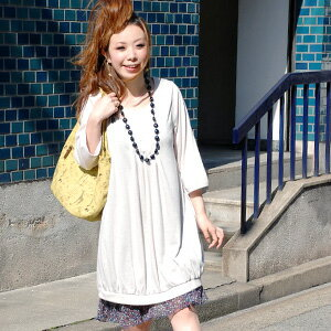 Looks delicate tucks carried out their chest and back trifling ♪ girl-friendly silhouette boasts tunic dress! カットソーワン piece will produce a sense of airy and soft produce beautiful hem gathered drape ◆ フロントタックデイリーワン piece