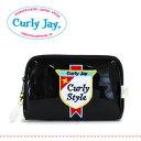 Curly Collection(カーリーコレクション)のお姉さんブランドよりコスメポーチ登場!勲章のようなエンブレムワッペンが可愛い化粧ポーチ!CJのモノグラムプリントもポイントのシンプルエナメルポーチ◆Curly Jay(カーリージェイ):エナメルワッペンポーチ[Curly Style]