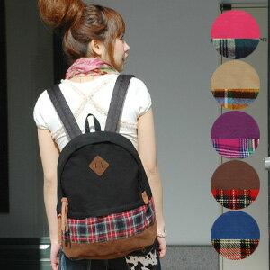 カジュアルデイ Pack in big size can hold plenty of luggage! Check print flannel x large BAG canvas colorful color scheme gives presence ◆ チェックポケットキャンバスリュック suck