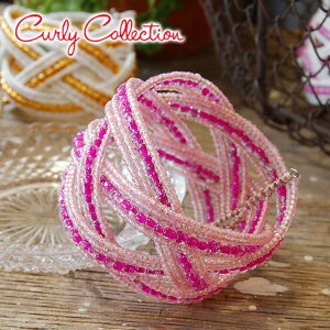 CurlyBeads wide Bangle CurlyCollection] appeared! Braided, designed with Carly original storage pouch charm bead accessories ◆ Collection of Curly (curly collection): carrier birds Bangle Bracelet [Pink x Pink]