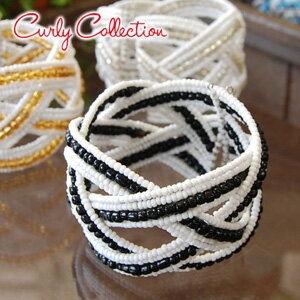 CurlyBeads wide bangle comes up than Carly collection! ◆ Curly Collection (Carly collection) with the Carly original storing porch: Carly beads bangle bracelet [white X black]