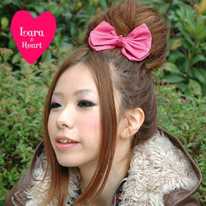 The presence that it is excellent just to attach it! The cute hair pony which feel of a material and BIG りぼん sweetness of the wet real leather matched! Popular hair accessories /fs3gm ◆ Lara & Heart (LARA and heart) where is recommended in a present: