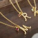 楽天ランキング入賞!手書き風のアルファベットがCUTE♪華奢な英文字ときらきら光るスワロフスキークリスタルの粒がポイントになった女性らしい華奢なデザインのネックレス◆ラフイニシャルネックレス