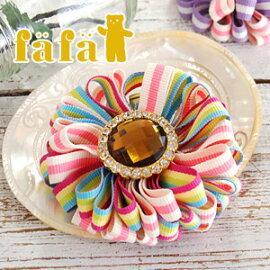 fafa(フェフェ):マルチボーダー柄リボンのお花モチーフヘアクリップ