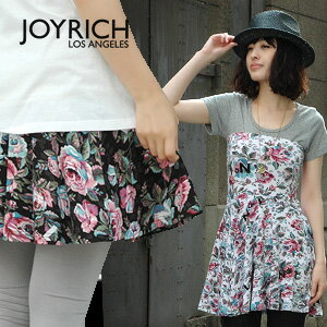 "A ""No1"" X bellyband style high waist skirt of the departure from LA JOYRICH familiarity of classical large floral design! In an elastic jersey material as for the comfort raise of wages tunic ◆ JOY RICH (Joey Rich) of the perfect score: Antique flower high waist skirt"