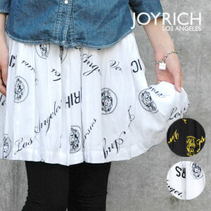 The high waist miniskirt that the alphabet and the print of the lion get a lot of looks conspicuously! ◆ JOY RICH (Joey Rich) precipitate to a senior stylish in the VERSUS logo pattern bottoms of the wide rubber waist: ☆☆ logo print gathers pleated skirt during the event
