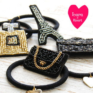Parisian-style beaded motif, appearing hair accessories! Black and white x Head perfect for the point here in heart gold charm adult cute range of Pony ◆ Lara &Heart (ララアンド heart): レディモチーフヘアゴム set