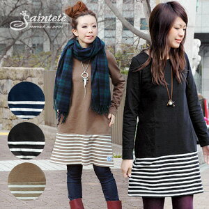 As for the long sleeves and the large size and the Mocha only in our store! An extreme popularity Saintete horizontal stripe change three-quarter sleeves dress long-awaited long sleeves version! Well original comment dress ◆ Saintete (sun Tete) of the sw