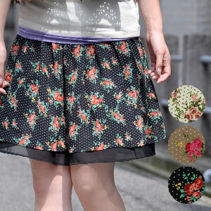 "The nostalgic chiffon skirt of the rose X dot print which took in the seasonal extract of ""the large floral design"" not to be able to miss in this season! Is air Lee in a chiffon material softly; wear; waterdrop miniskirt ◆ classical Rose chiff"