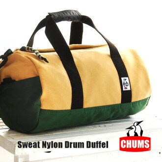 Sweat x Cordura nylon colorful different material MIX cylinder ドラムダッフル bag! Will also shoulder bag also 2WAY specifications / unisex / Boston / mens / Womens ◆ CHUMS ( chums ): sweatshirts * nylon drum bags