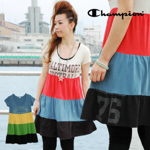 Three steps of ティアード T dresses of Champion come up! Remake-like American casual short sleeves tunic Tee ◆ Champion (champion) where a girly is casual the coloring that is HAPPY: Clay ziti ard T-shirt one piece