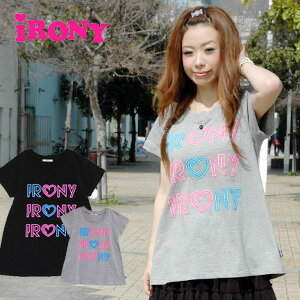 A-line tunic Tee of the irony logo such as the neon sign! Lady's long length short sleeves cut-and-sew neon heart long tee ◆ irony (irony) where a fluorescence print is cute: Neon heart irony logo tunic T-shirt