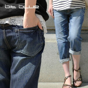 --Petite's also clean it bitblue boyfriend jeans cropped-length easy to do! But a loose style ECI! Cool vintage feeling unisex odd-length G bread ◆ bit blue ( ビットブルー ): ユーズドウォッシュ 8-cuff boyfriend denim pants