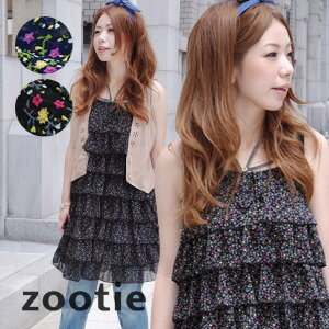 """Mature, firm otome. ""A small floral chic bittersweet 8-ruffle dress! Cheating the shape bothers ロングキャミソールチュニック ◆ Zootie ( ズーティー ): イブニングフラワーシフォンティアードフリルキャミワン piece"
