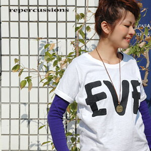 An adult dolman sleeve print T-shirt good casually! Short-sleeved wazaari sloppy cut-and-sew ◆ repercussions (リパークションズ) which is convenient for wearing clothes one over another because it is a monotone color: EVE print dolman T-shirt