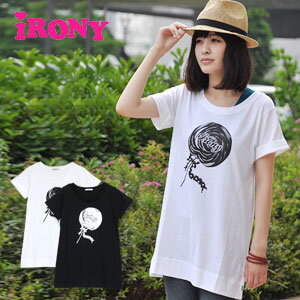 In slurp candy monochromatic print short sleeves T tunic /T shirt tunic / long T-shirt / long cut-and-sew /lollipop long top ◆ irony (irony) with the dot pattern ribbon: Monotone lollipop tunic T-shirt