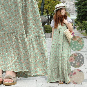 Y back long shot length dress ◆ mistake tea dot flower maxiskirt length キャミワンピース of the flare silhouette that maxiskirt one piece ♪ enhancing the attractiveness that nuance color and delicate Rose & random dot are pure is gentle