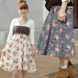 Antique rose pattern flared skirt ◆ garden Rose bellyband skirt one piece to be able to wear as raise of wages top one piece and a long skirt