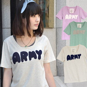 Army logo Tee/ Lady's short sleeves T-shirt / cut-and-sew / long length / pastel color / casual girly ◆ bulky ARMY mixture slab T-shirt for the girl who is a girly yours sincerely everywhere