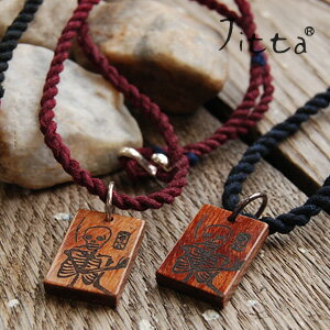Ikat string x wood charm Japanese taste perfect pendant / gender unisex unisex accessories / wood / yukata / skull / skeleton / hid / skull and crossbones ◆ Jitta ( jitter ): オリエンタルウッドチャームイカットネックレス [skull]
