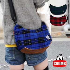 At diagonal credit bag / bias of CHUMS where the checked pattern X real leather which is preppy is fresh / man and woman combined use / men / Lady's / rial leather / cowhide /Small Banana Shoulder Tartan Check Leather ◆ CHUMS (Kiamusze): Tartan check Sma