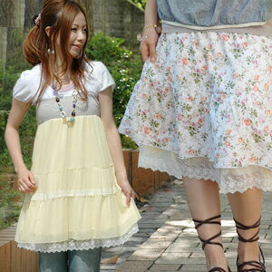 It's as if actress! Table NATURAL flower skirt, soles CUTE tulle skirt! Scalloped lace with knee length versatile skirt can also more beat-up petticoat your ◆ MAGIC リバーシブルフラワー & tulle skirt 2-WAY