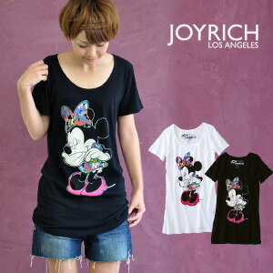 T dress of Minnie Mouse which I was dressed up with colorful camouflage pattern ribbon and dress of Kaai すぎるっ ♪ JOYRICH and did! /Disney/ disney /60's Minnie Dress Tee/ thin /A line / Lady's /S size /M size ◆ JOY RICH (Joey Rich): レインボーカモフラミニーチュニック T-shirt