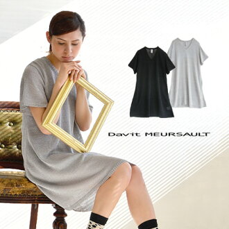 The short-sleeved one piece which was knit out of the lam knit which glittered elegantly. A silhouette of simple A-line worn relaxedly. Enjoy the wearing clothes one over another for the translucency from a stitch; ◎ / spring one piece /fs3gm ◆ Davit MEU