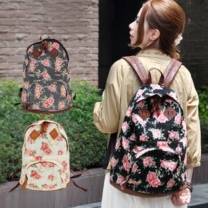 Happy with MiniPCI! meet both mind and features school, design school, though large pockets are clean and large bag / outside pocket with bag and flower pattern and rose pattern / rose / フェイクレザー / double zipper ◆ ロマンティックローズリュック suck