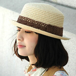 The soft straw hat style キャノチェ ◆ torchon ribbon paper boater which is good to positive ♪ natural girly group unmissable ♪ forest girl style coordinates with exceptional gentleness in a cotton race to a trendy boater
