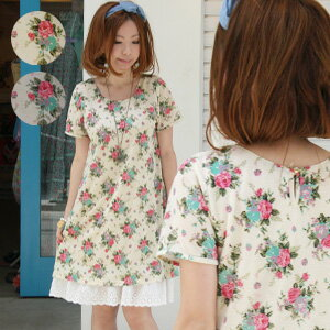 Adults would say instinctively, Cute Girly big floral print belted ♪ lined with is one piece that can be worn! Pocket or tears open also points an elegant rose pattern プチプライス short sleeve A ラインチュニック ◆ レトローズワン piece