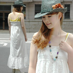The innocent sundress that white cotton maxiskirt one piece ♪ which is beautiful so that a sigh is given is rich remarkably! The natural long dress ◆ white patchwork maxiskirt length one piece which colors everlasting constant seller white by delicate em