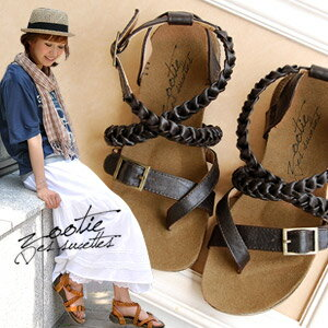 Thumb cross design of the Gladiator style Sandals / pettanko pettanko / flats shoes / upper belt and ankle strap / casual / フェイクレザー / プチプライス ◆ Zootie ( ズーティー ): braid strap Cross sandals