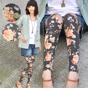 ♪ wears sinter for coordinates in leading role trainers of large floral design leggings and is distinguished for feeling, elasticity, presence, all! Flower pattern ten minutes length spats / accessory / foot accessories / full-length / rose ◆ marmalade Rose leggings charming you in the step that is 5 girly degree surcharges